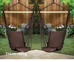 2 brown Cotton padded Swing hammock hanging outdoor Chair ga