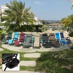 2 Folding Zero Gravity Reclining Lounge Chairs+Utility Tray