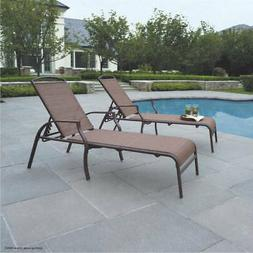 Outdoor Chaise Lounge 2-Pack Tan Sand Dune Adjustable Back P