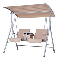 Outsunny 2 Person Covered Patio Swing with Pivot Table & Sto