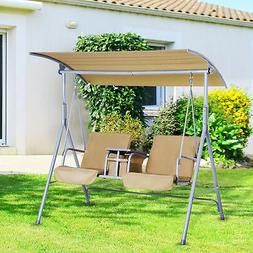 Outsunny 2-Person Outdoor Patio Porch Swing Double Seat with
