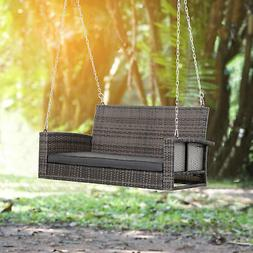 2-Person Outdoor Wicker Hanging Porch Swing Bench with Cushi