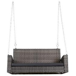 Outsunny 2-Person Outdoor Wicker Hanging Porch Swing Bench w