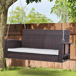 Outsunny 2-person Outdoor Wicker Porch Swing Chair Garden Ha