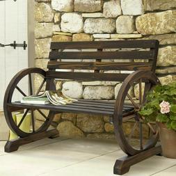 2 Person Rustic Wagon Wheel Bench Garden Loveseat Porch Pati