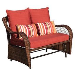 Sundale Outdoor 2 Person Wicker Loveseat Glider Bench Chair