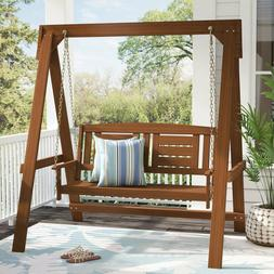 2 Piece Brown Hanging Porch Swing & Stand Set Outdoor Home P