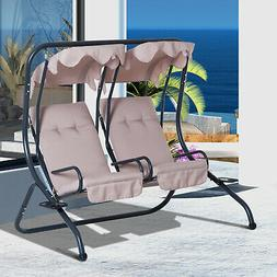 Outsunny 2 Seat Modern Outdoor Swing Chairs with Handrails a