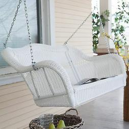 2 Seat White Resin Wicker Outdoor Porch Swing Home Patio Fur