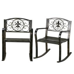 2pcs Mental Outdoor Rocking Chairs Patio/Front porch/Swimmin