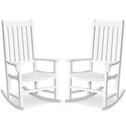 2PCS Wood Rocking Chair Porch Rocker High Back Garden Seat I