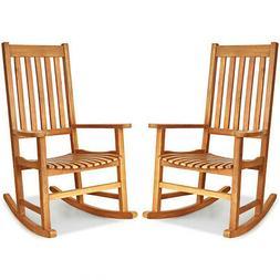 2pcs wood rocking chair porch rocker high