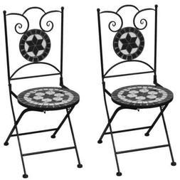 vidaXL 2x Bistro Chair Mosaic Black White Outdoor Garden Pat