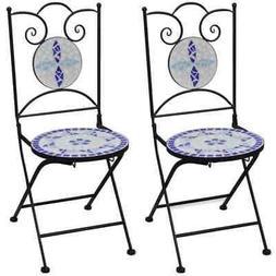 vidaXL 2x Bistro Chair Mosaic Blue White Outdoor Garden Pati