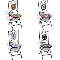 vidaXL 2x Bistro Chair Mosaic Outdoor Garden Patio Cafe Seat