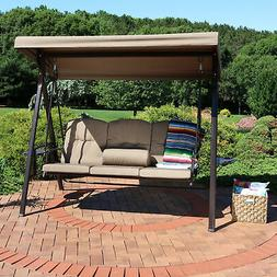 Sunnydaze 3-Person Outdoor Patio Swing Bench with Adjustable