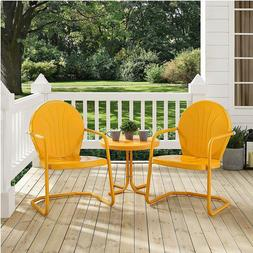 3 PC Tangerine Vtg Patio Set Metal Retro 50s Style Outdoor L