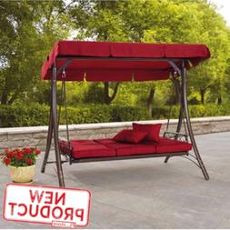 3 Person Canopy Porch Swing Bed Full Recline Outdoor Patio G