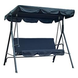 Outsunny 3 Person Canopy Porch Swing - Black