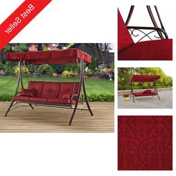 3-Person Outdoor Canopy Swing Patio Chair Lounge Love Seat H