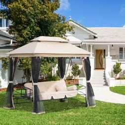 Outsunny 3 Person Outdoor Patio Daybed Gazebo Swing with UV