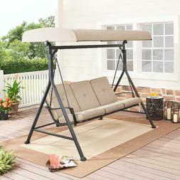 3-Person Porch Swing with Adjustable Canopy Metal Outdoor Pa