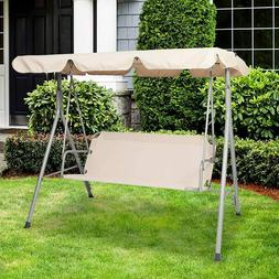 3 Person Porch Swing with Stand and Waterproof Canopy All We