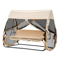 Outsunny 3 Seat Outdoor Covered Convertible Swing Chair/Bed