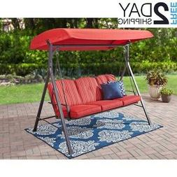 3 Seat Cushion Swing Patio Steel Tan Polyester Canapy Outdoo