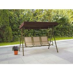 Outdoor 3-Seat Sling Swing Steel Frame Multi-position Canopy