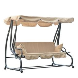Outsunny 3 Seat Outdoor Free Standing Covered Swing Bench -