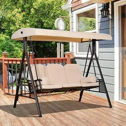 Outsunny 3 Seat Steel Outdoor Canopy Patio Cushioned Bench P