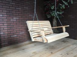 3ft Cypress Apartment Size Wood Wooden Contoured Seat Porch