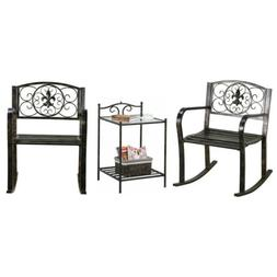 3PCS Metal Bistro Sets Outdoor Front Porch Rocking Chair Gar
