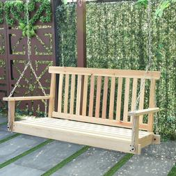 Giantex 4 FT Porch Swing with Chain Natural Wood Garden Swin