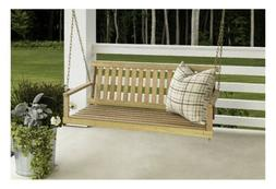 4 Swing w/ Chains Wood Porch Natural Finish Garden Yard Pati