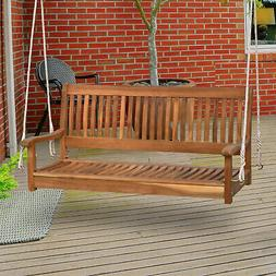 """48"""" Acacia Wood 2 Person Hanging Slatted Outdoor Porch Ben"""