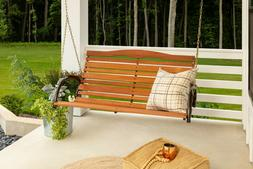 """48"""" High Back Wood Porch Swing with Chain Brown Jack Post"""