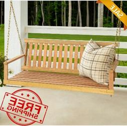 4ft Wooden Porch Swing with Chains Jack Post Natural Wood Pa