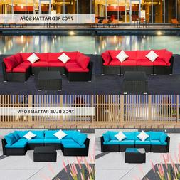 5/7PCS Black Rattan Wicker Sofa Patio Set Sectional Couch Ga