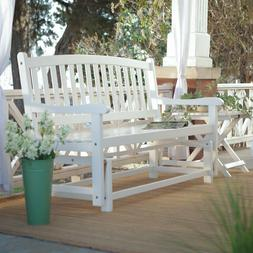 5 Ft Porch Patio Loveseat Glider Wood Acacia Curved Back Roc