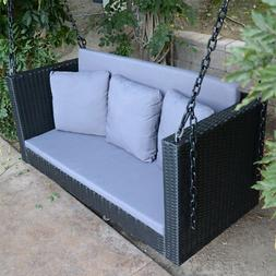 "57.5"" Black Wicker Porch Swing Chair Outdoor Furniture Patio"