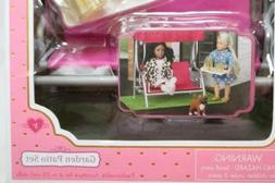 "6"" Lori Doll Dollhouse Furniture GARDEN PATIO SET Pink Porch"