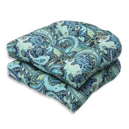 Pillow Perfect Outdoor Pretty Paisley Wicker Seat Cushion, B