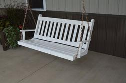 A&L Furniture Amish-Made Pine Traditional English Porch Swin