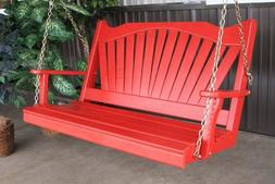 A&L Furniture Co. Amish-Made Pine Fanback Porch Swings - In