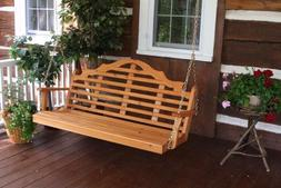 A&L Furniture Co. Amish-Made Cedar Marlboro Porch Swing -  3