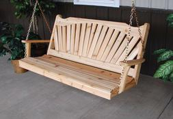 A&L Furniture Co. Amish-Made Cedar Fanback Porch Swings, Ava