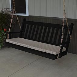 A & L Furniture Yellow Pine Traditional English Porch Swing,