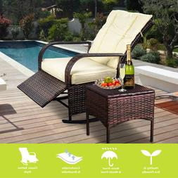 Adjustable Reclining Chair,Porch Deck Wicker Rocking Chair,1